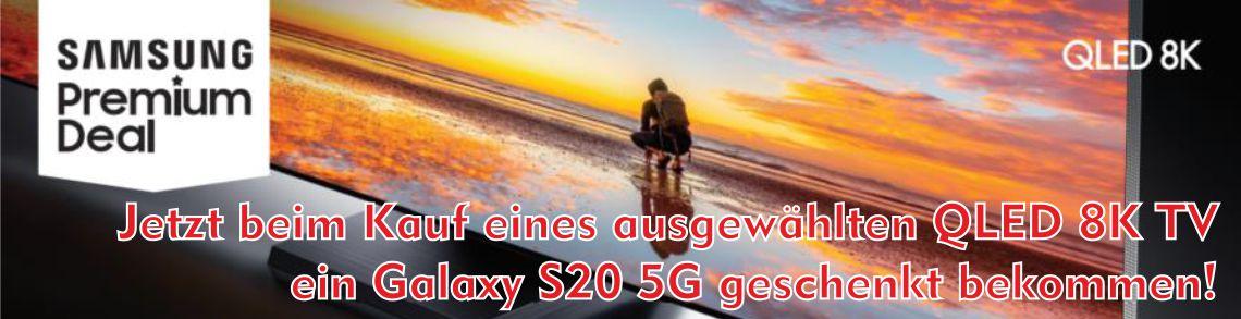 Jetzt beim Kauf eines ausgewählten QLED 8K TV ein Galaxy S20 5G geschenkt bekommen!