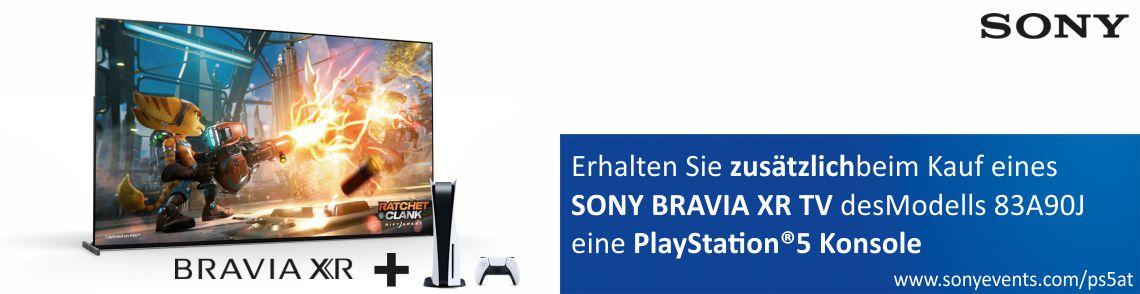 Kaufen Sie einen SONY BRAVIA XR TV des Modelles 83A90J zwischen dem 7. Oktober 2021 und 31. Januar 2022 im teilnehmenden Handel und erhalten zusätzlicheine SONY PlayStation®5 Konsole