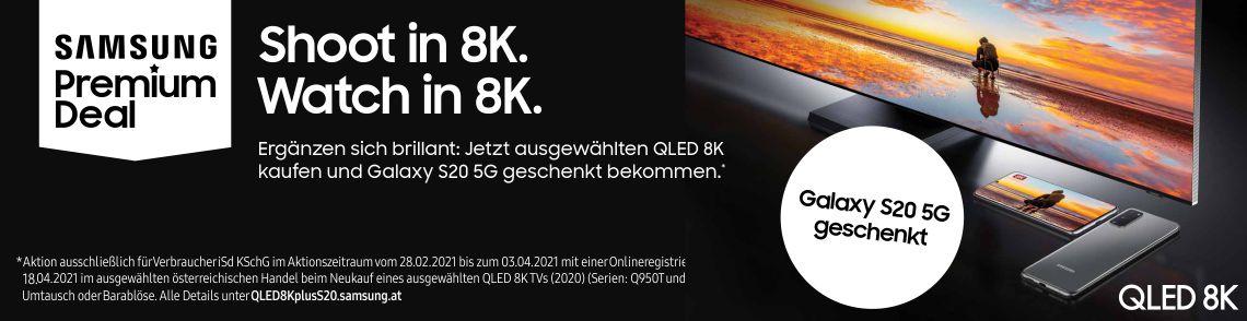 Jetzt beim Kauf eines ausgewählten QLED 8K TV (2020) ein Galaxy S20 5G geschenkt bekommen!