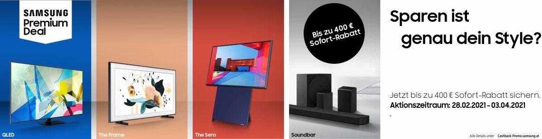 Jetzt einen ausgewählten Samsung QLED TV, Lifestyle TV oder eine ausgewählte Soundbar kaufen und bis zu €400 geschenkt bekommen!