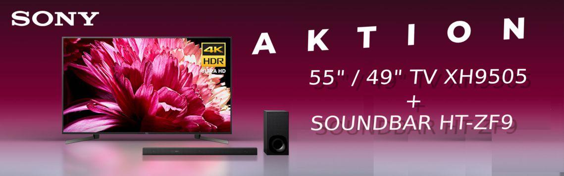 """Sony Bundle Aktion  49"""" / 55"""" XH9505 mit der HT-ZF9 3.1 Soundbar zu einem unschlagbaren Preis sichern"""